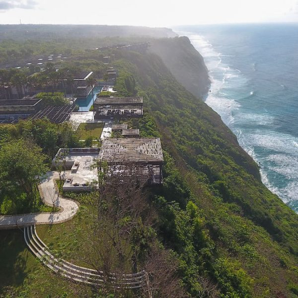 Cliff Edge Cabana Bali Wedding - Aerial View