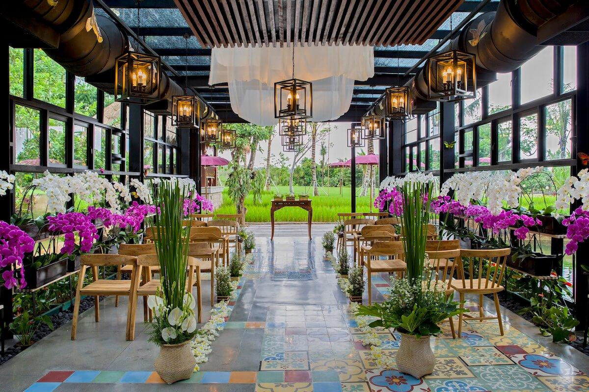 Rimba Orchid Wedding Setup with Wooden Chair
